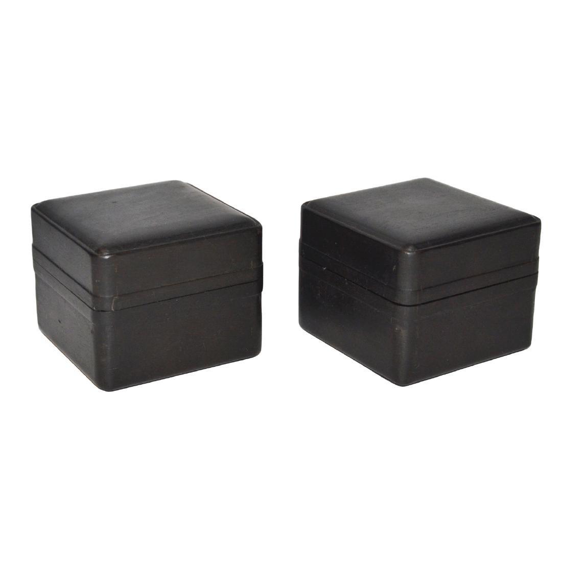 Qing, A Pair of Small Zitan Square Box
