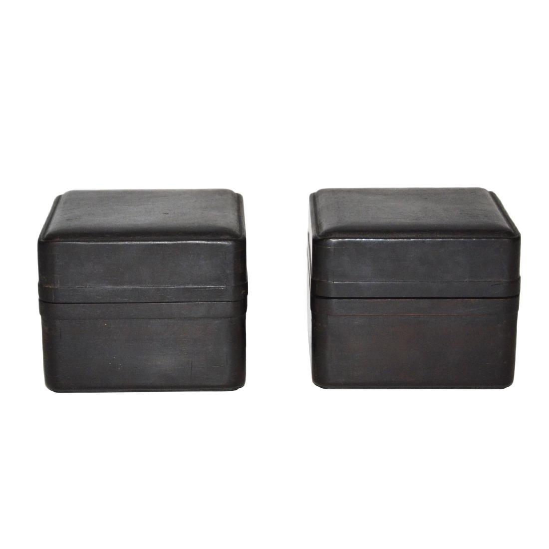 Qing, A Pair of Small Zitan Square Box - 2