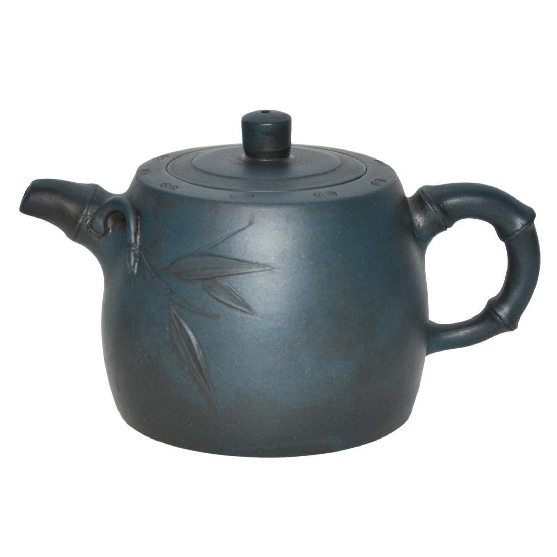 Gu Jingzhou, Teal-Blue Square Yixing Zisha Teapot
