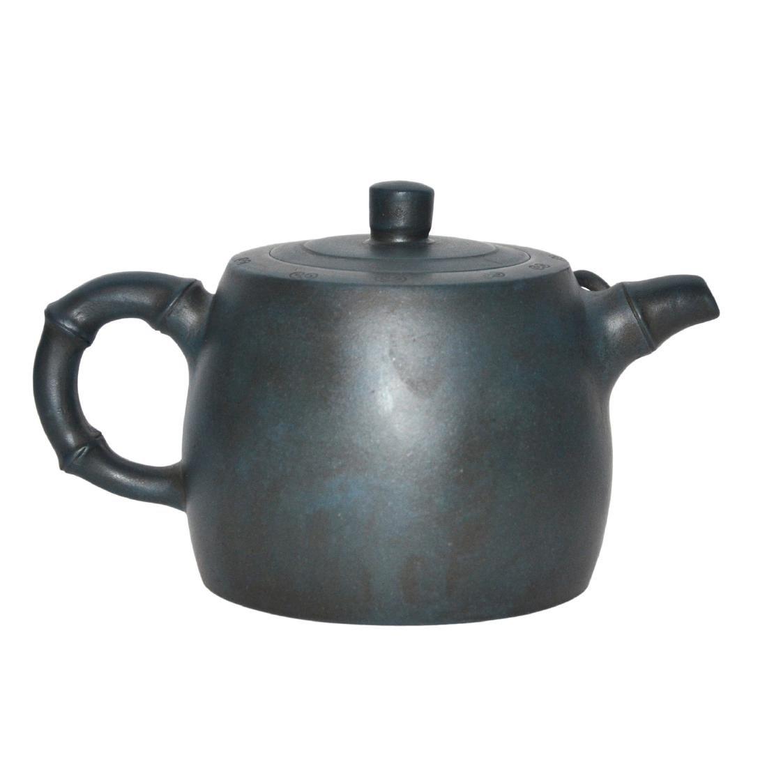Gu Jingzhou, Teal-Blue Square Yixing Zisha Teapot - 2