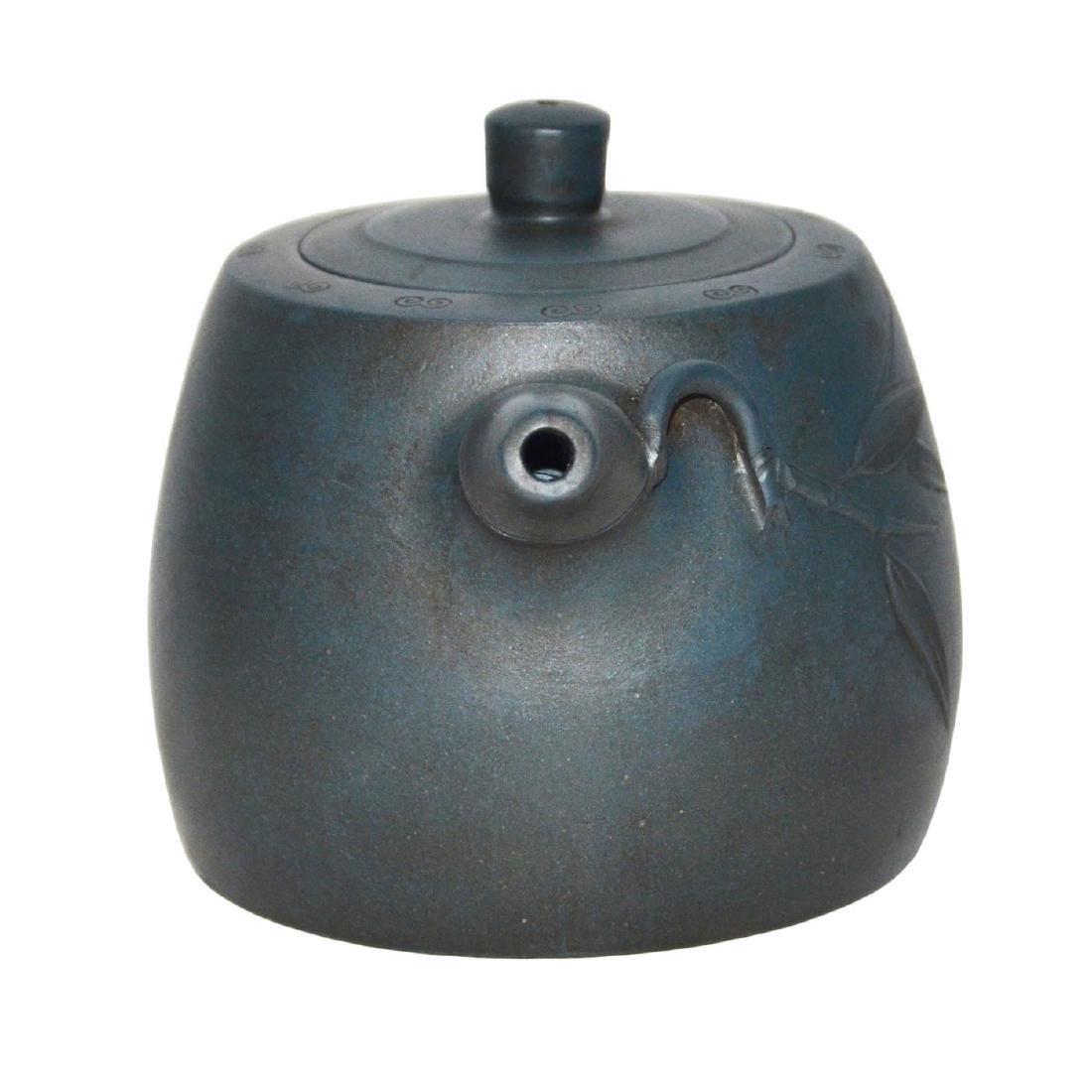 Gu Jingzhou, Teal-Blue Square Yixing Zisha Teapot - 3