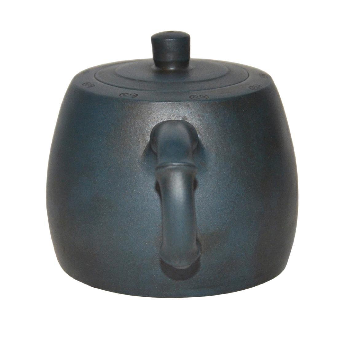 Gu Jingzhou, Teal-Blue Square Yixing Zisha Teapot - 4