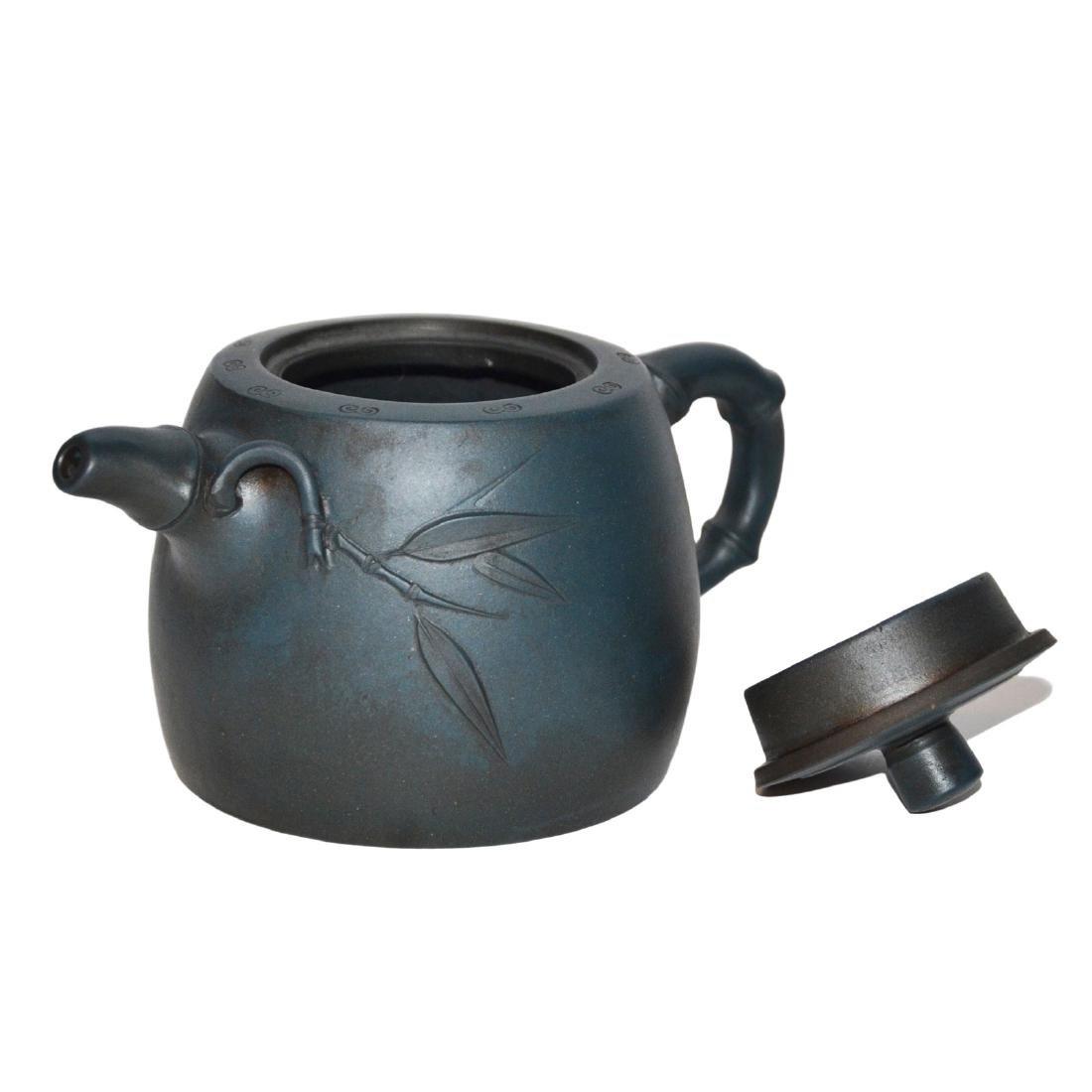 Gu Jingzhou, Teal-Blue Square Yixing Zisha Teapot - 5