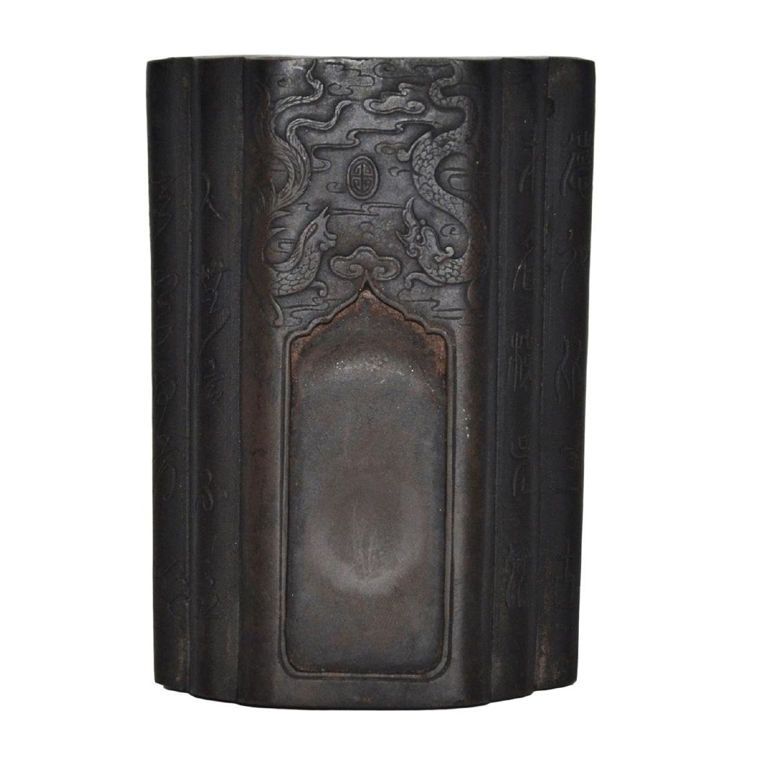 Qing, Qianlong A Triple Stack Tile Inkstone Carved with - 2
