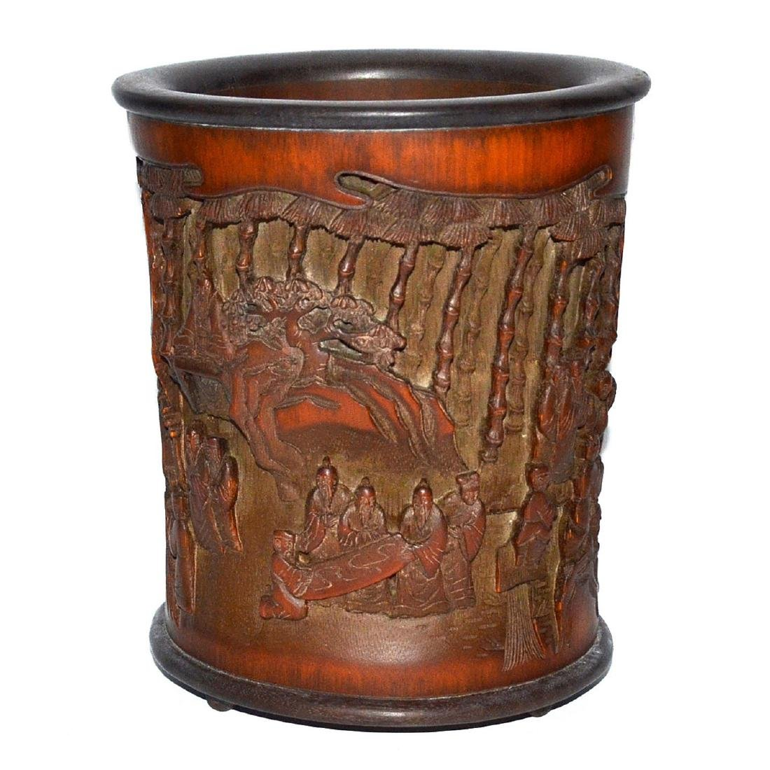 A Deeply Carved Bamboo Brush Pot with an Openwork Scene