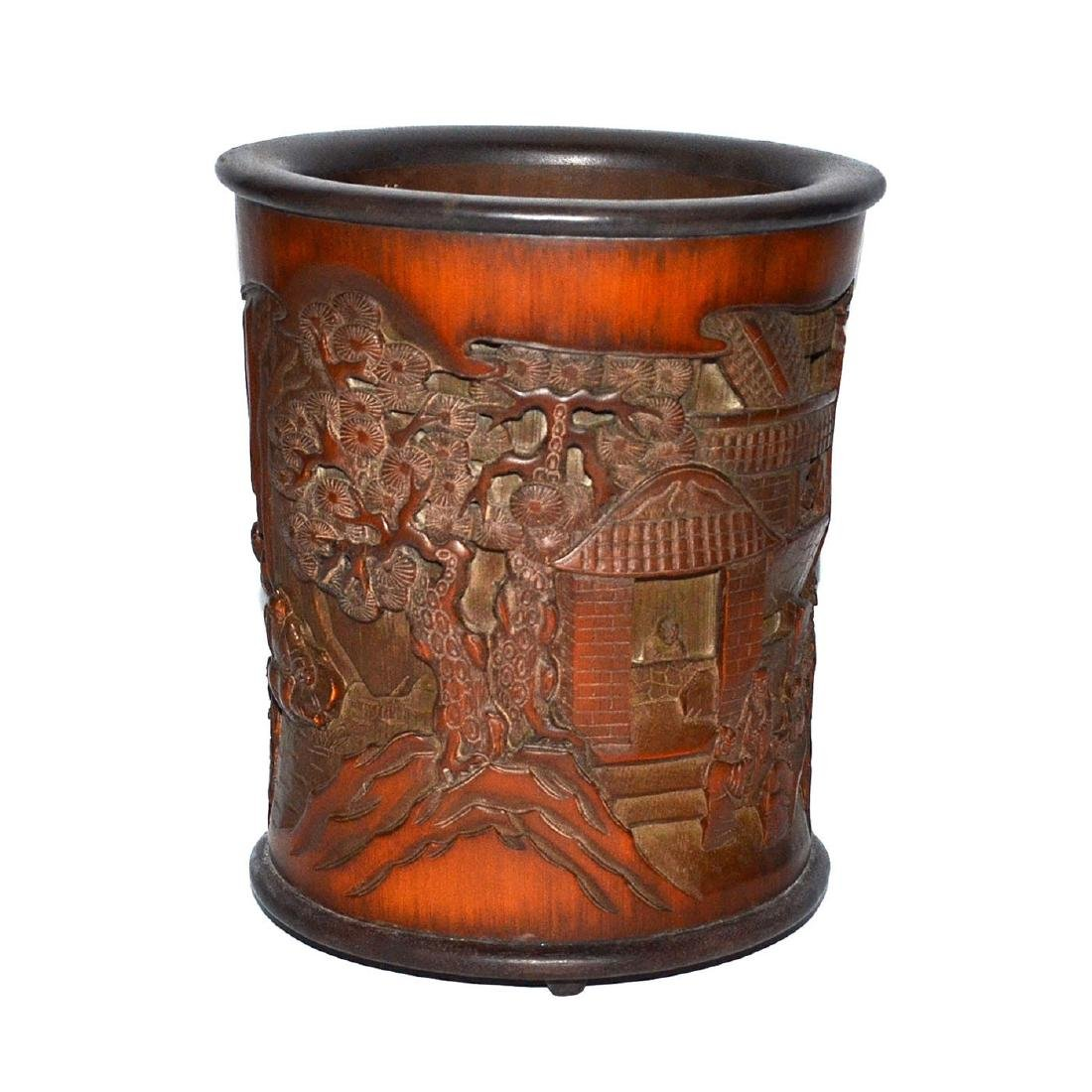 A Deeply Carved Bamboo Brush Pot with an Openwork Scene - 3