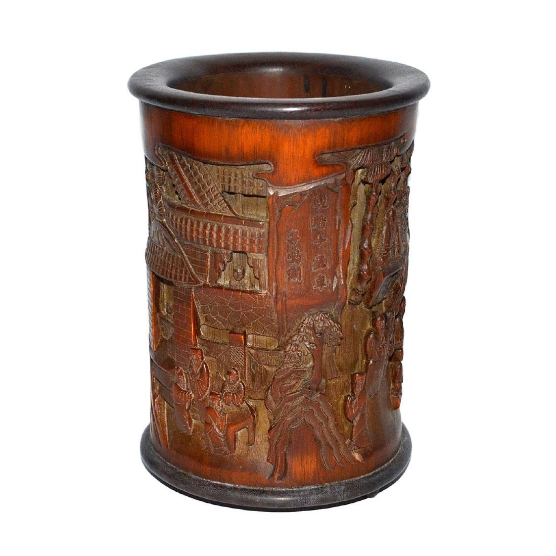 A Deeply Carved Bamboo Brush Pot with an Openwork Scene - 4