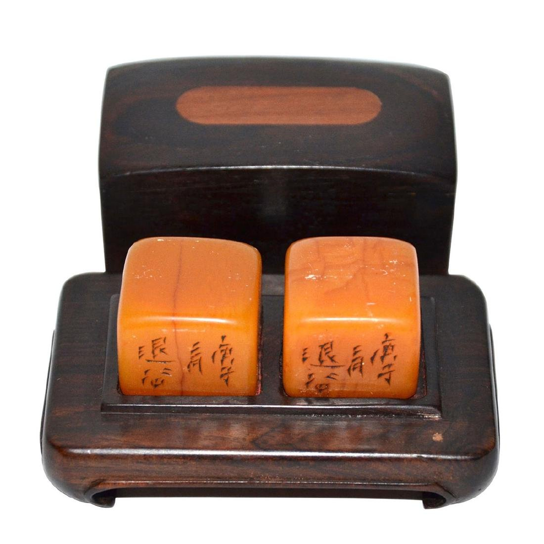 A Pair of Tianhuang Square Seal with Fitted Box-Stand