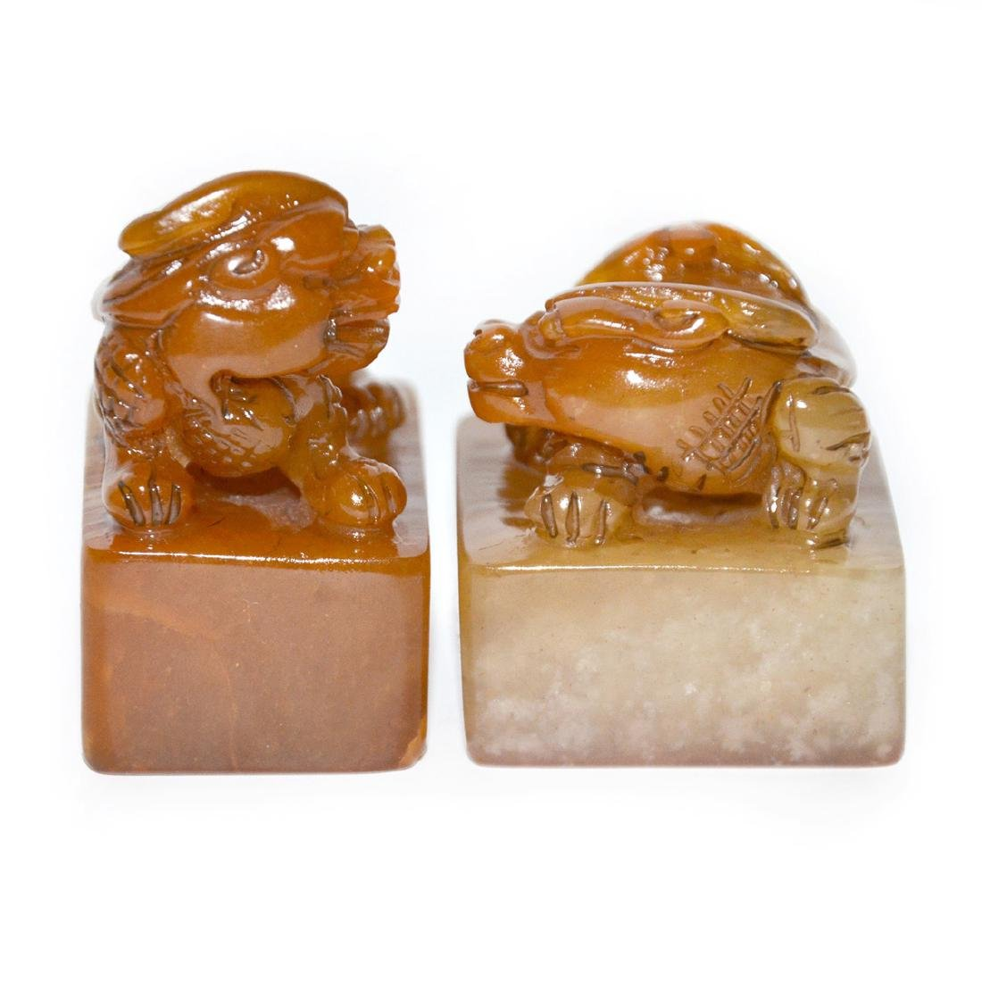 Qing Dynasty, A Pair of Tianhuang Stone Seal with - 2