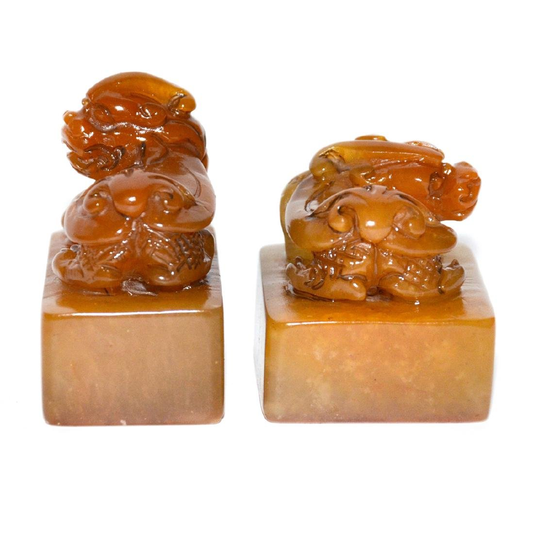 Qing Dynasty, A Pair of Tianhuang Stone Seal with - 4