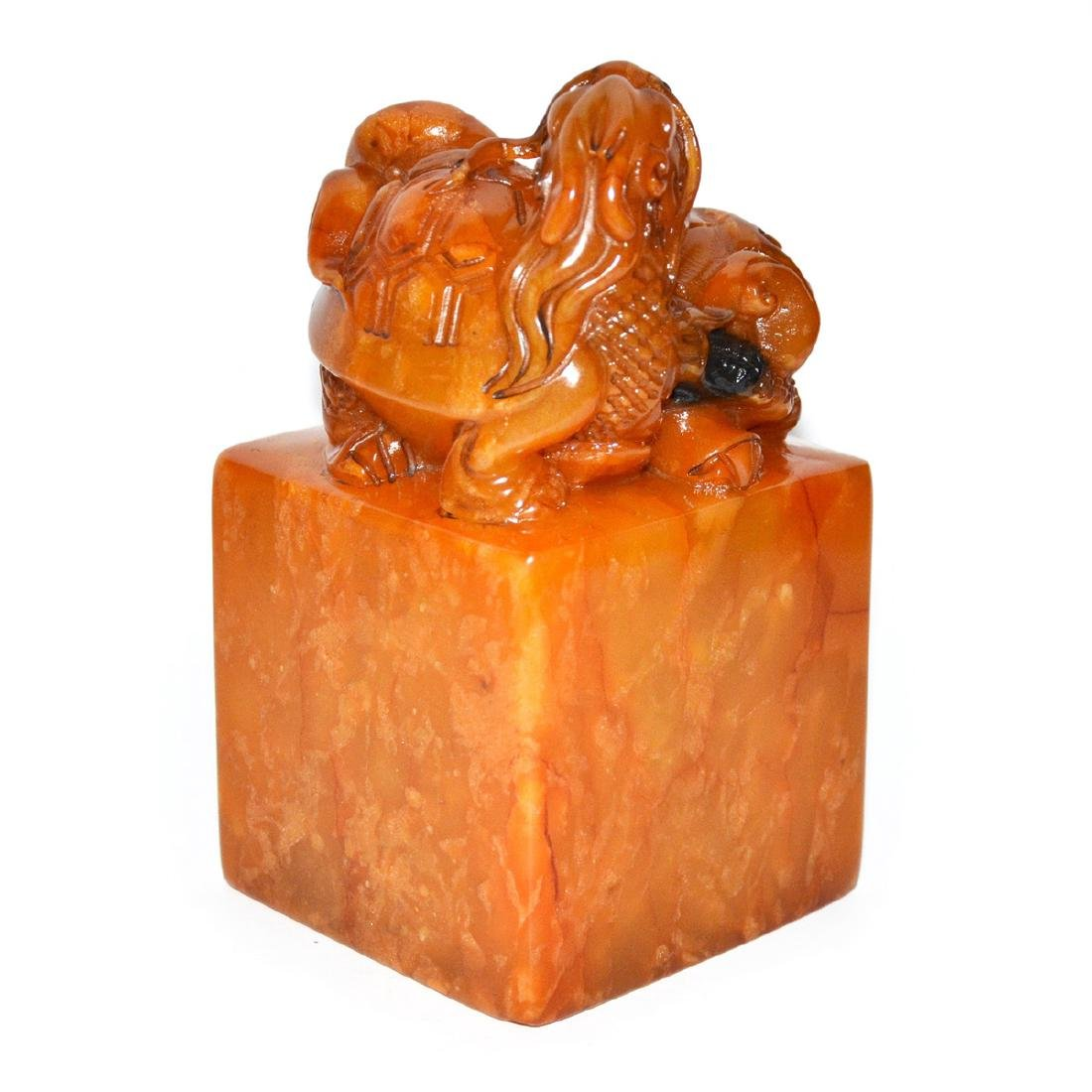 A Large Tianhuang Stone Square Seal with Recumbent - 6