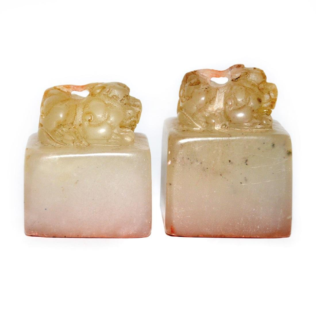 A Pair of Furong Stone Seal with Bixie Knop - 4