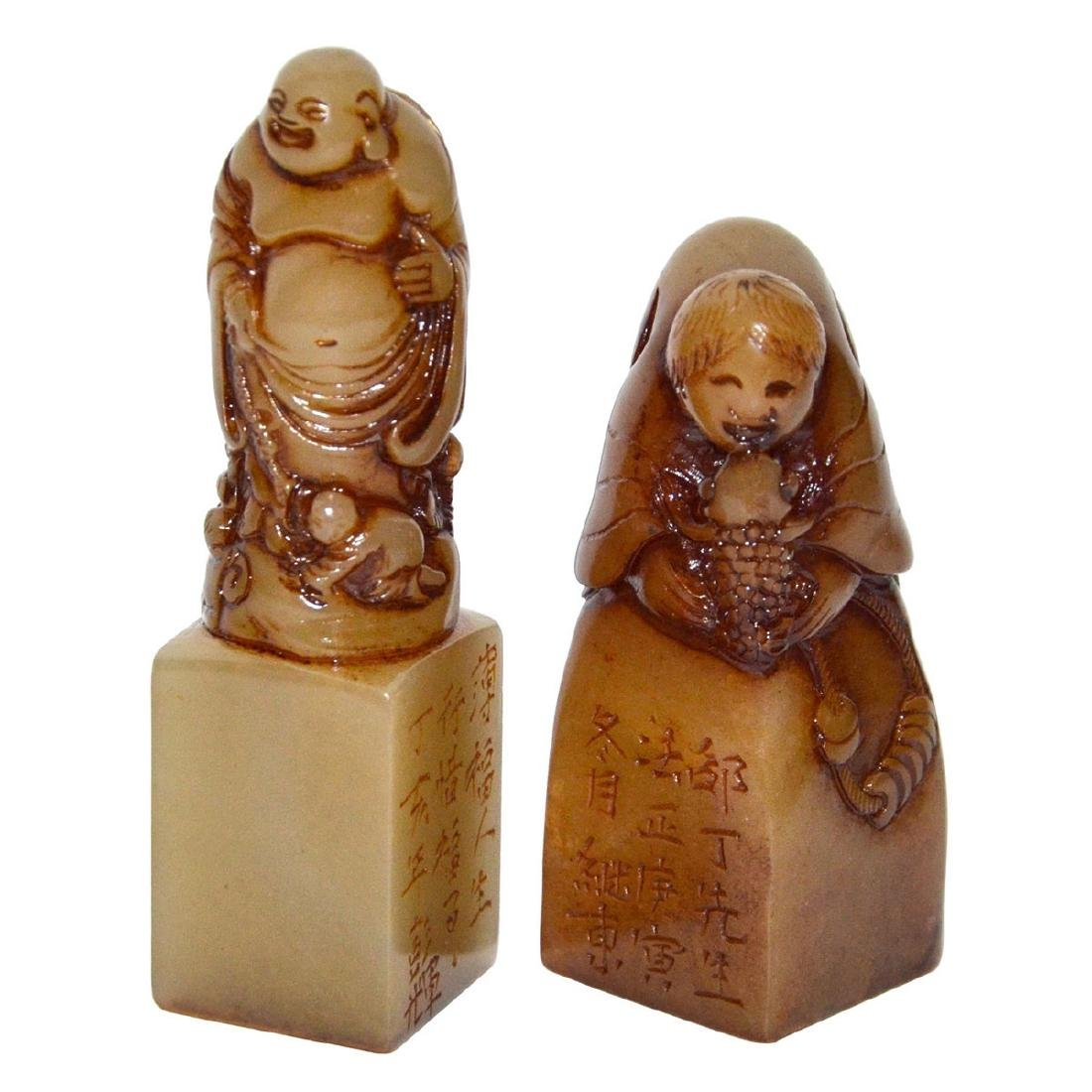 Two Furong Stone Carved Seals with Luohan Atop as Knop
