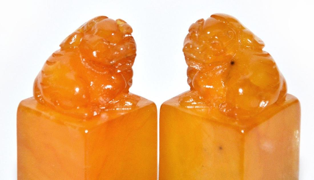 A Pair of Yellow Furong Stone Seals with 'Fu ' Box and - 15