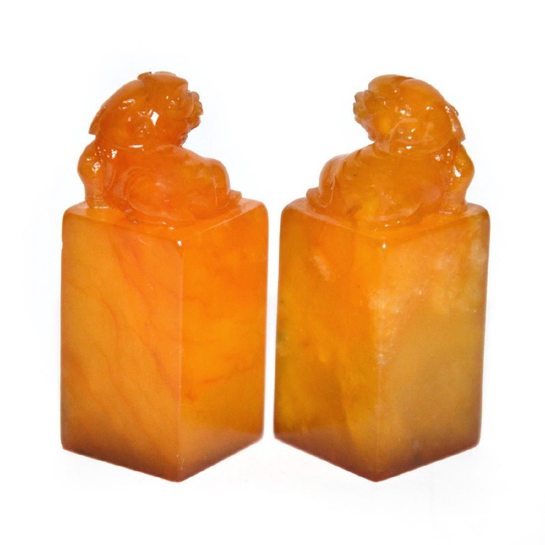 A Pair of Yellow Furong Stone Seals with 'Fu ' Box and - 5