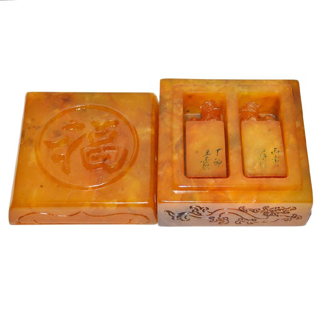 A Pair of Yellow Furong Stone Seals with 'Fu ' Box and - 9