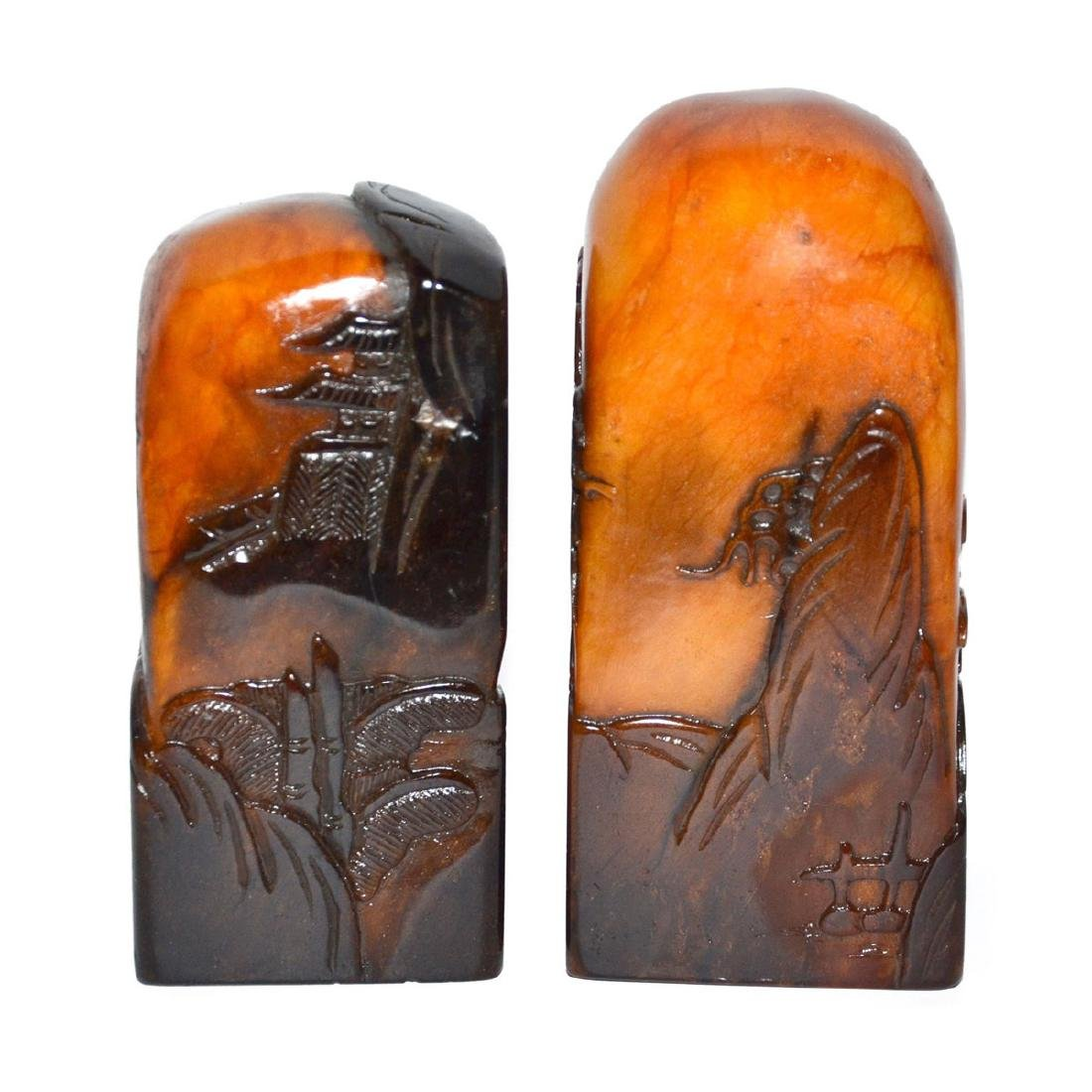 Two Crow-skin Shoushan Stone Seals Relief Carved with - 5