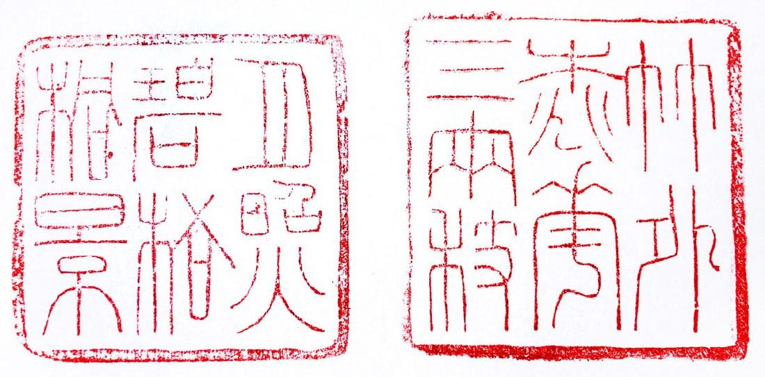 Two Crow-skin Shoushan Stone Seals Relief Carved with - 8