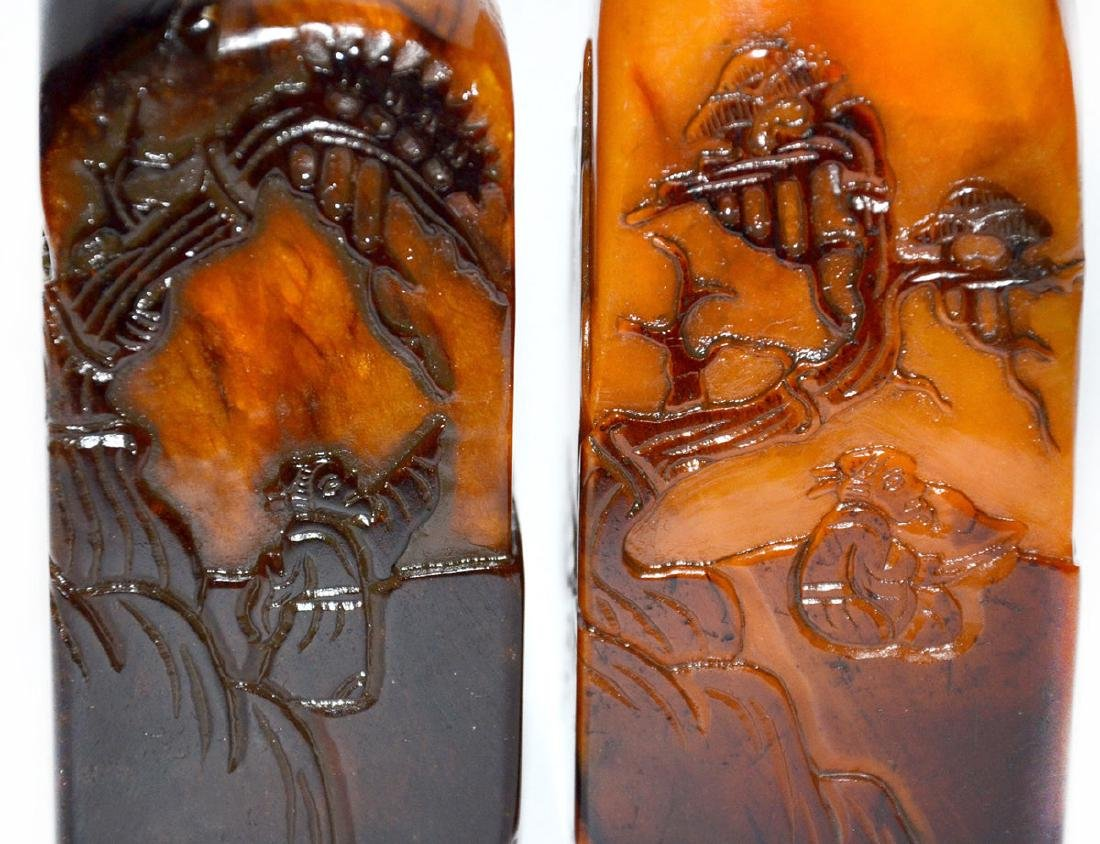 Two Crow-skin Shoushan Stone Seals Relief Carved with - 9