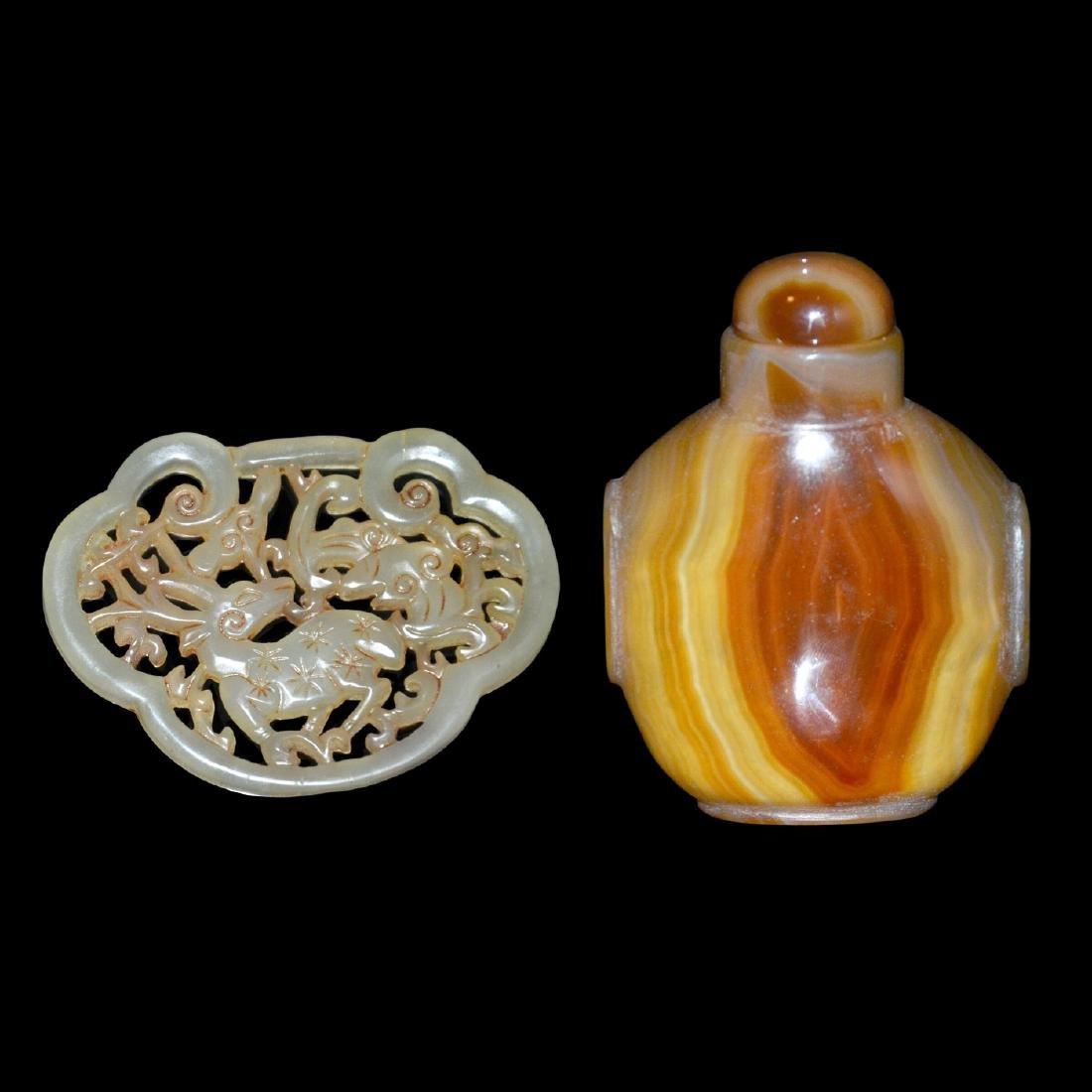 A Reticulated Jade Deer Pendant; An Agate Snuff Bottle