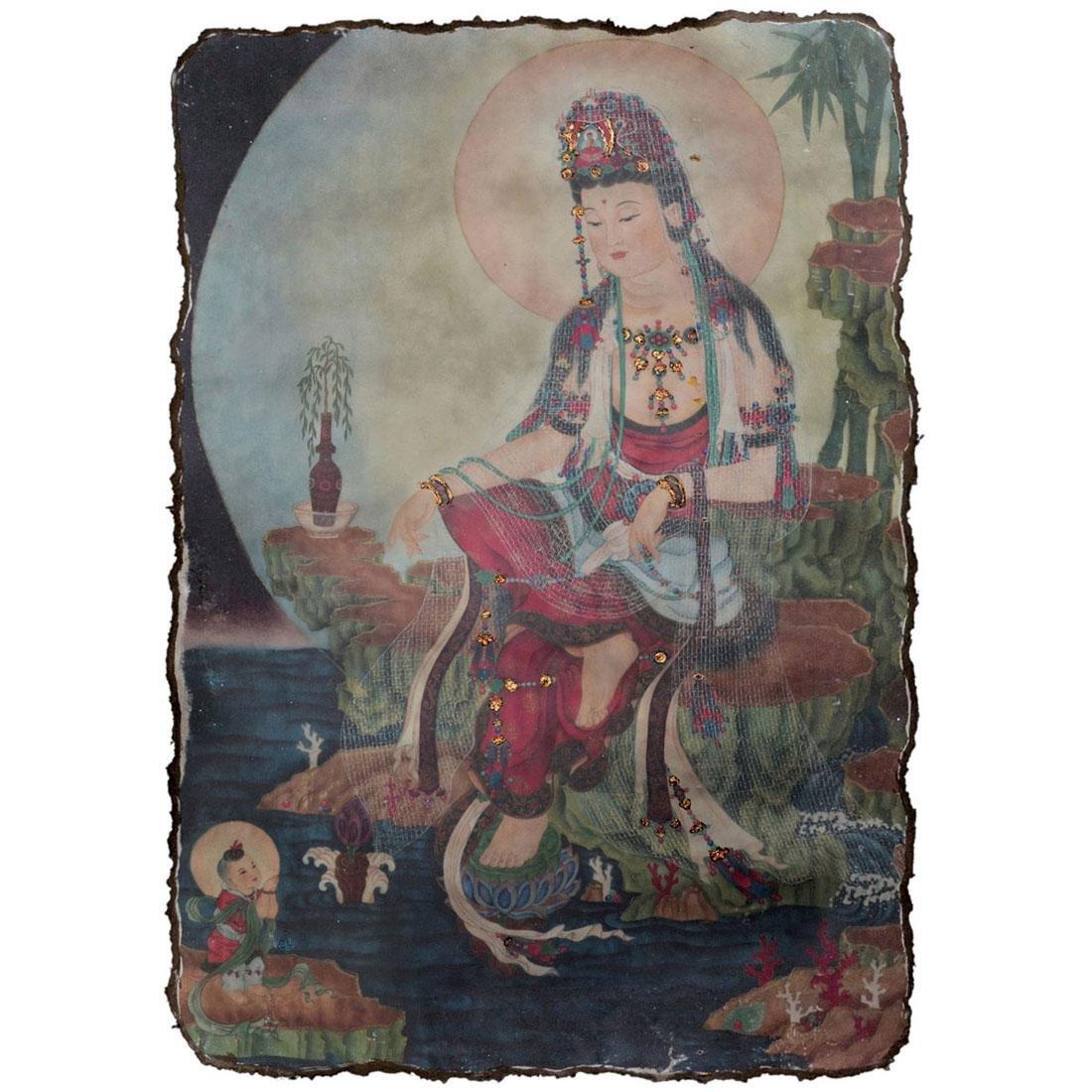 Song Dynasty, A Polychrome Stucco Fresco Panel of