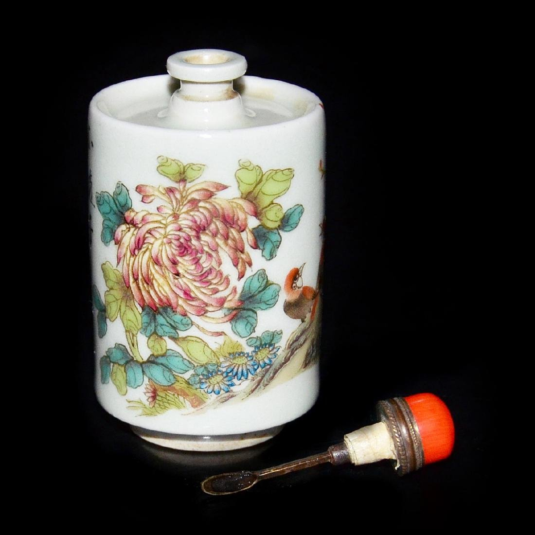 Famille-Rose Cylindrical Floral with Bird Snuff Bottle