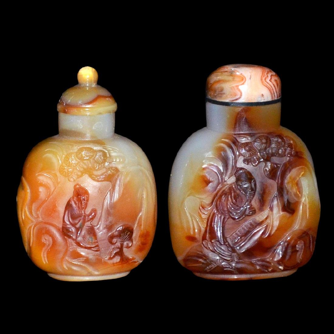 Two Finely Carved Agate Snuff Bottles: Figural