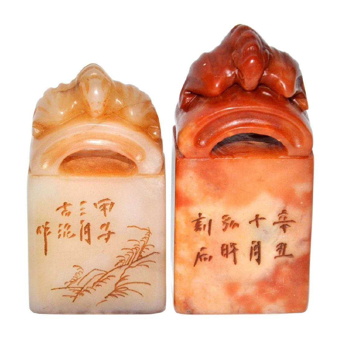 Two Shoushan Stone Seals with Bat Tile Knop