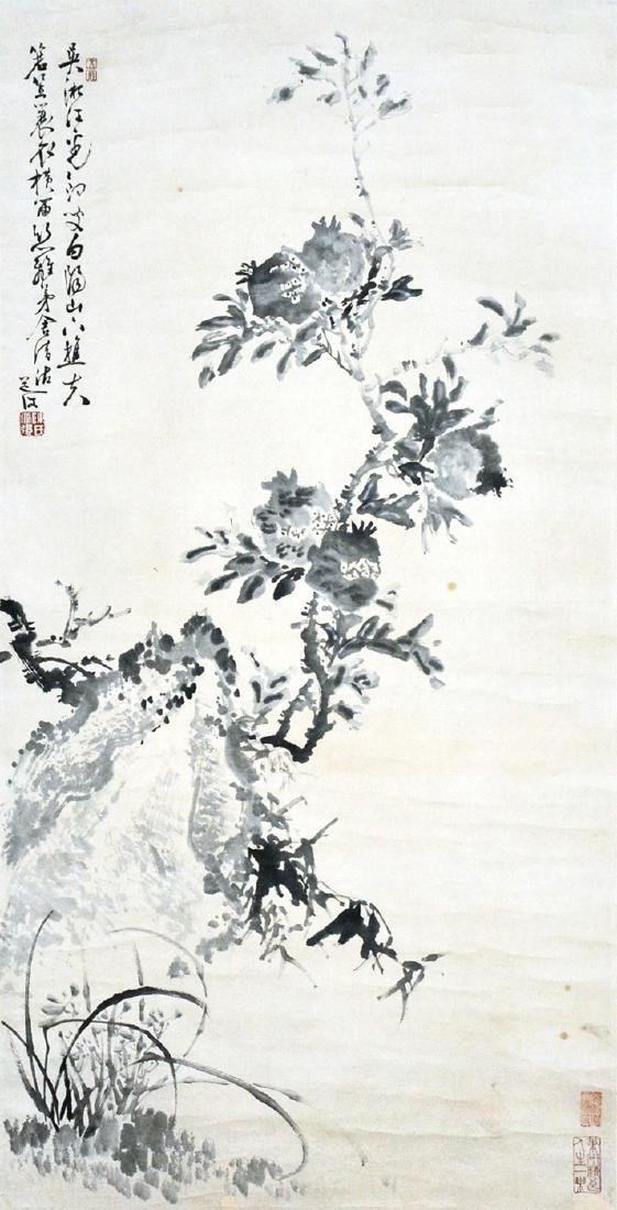 Chen Daofu Ming Dynasty Orchid, Pomegranate and Rock