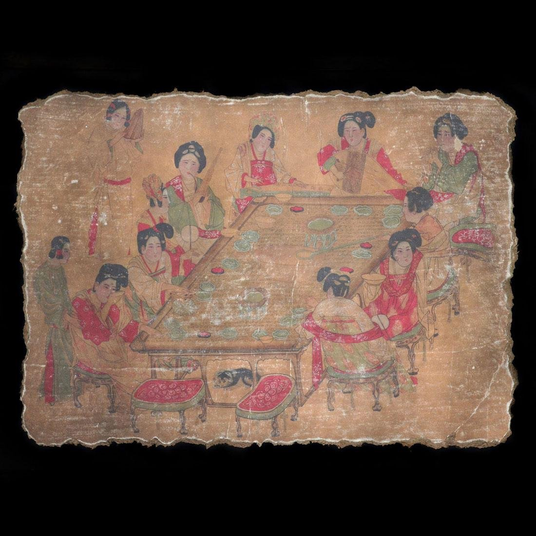 Song Dynasty, A Polychrome Stucco Fresco Panel of Court