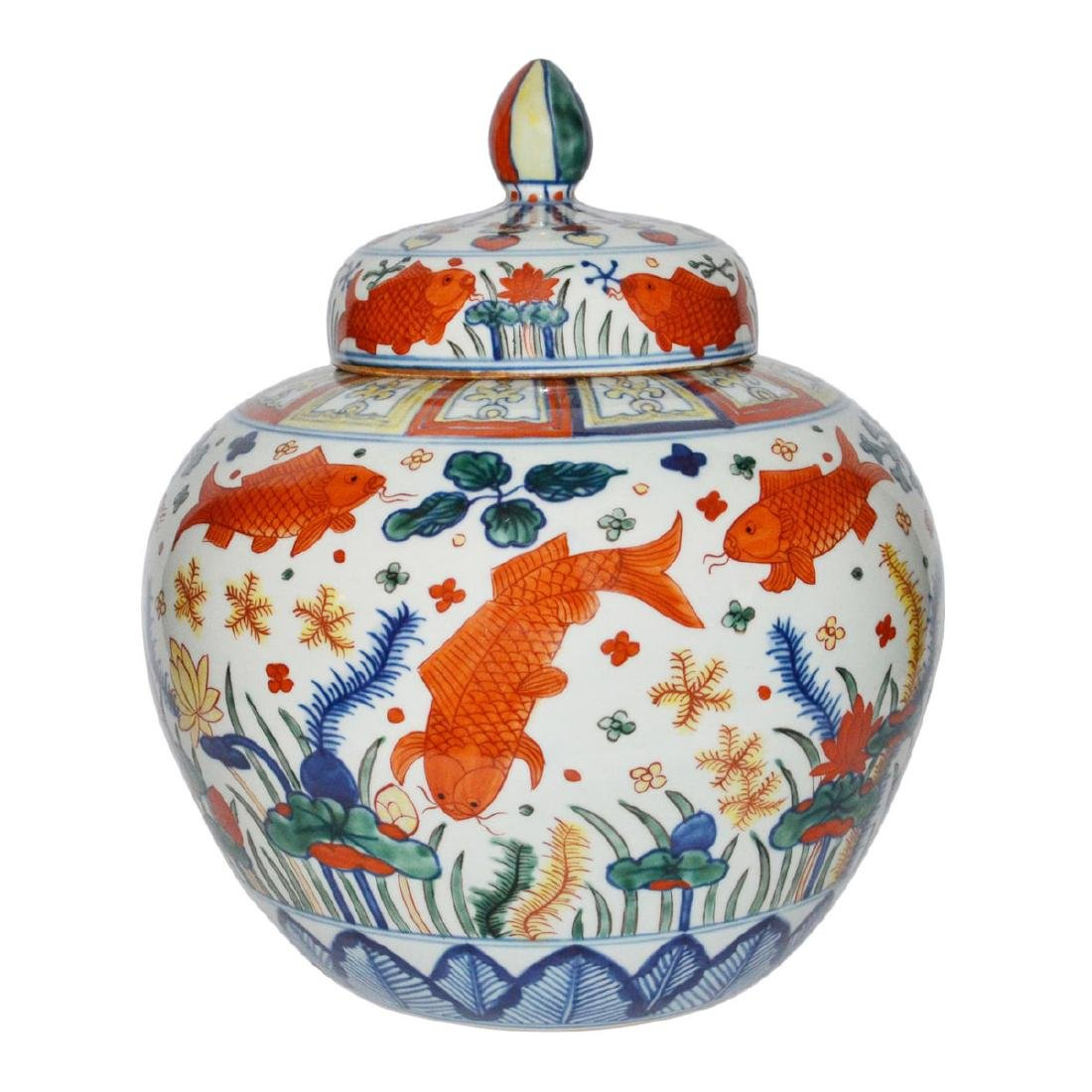 Ming, A Very Rare and Magnificent Wucai Fish Jar with