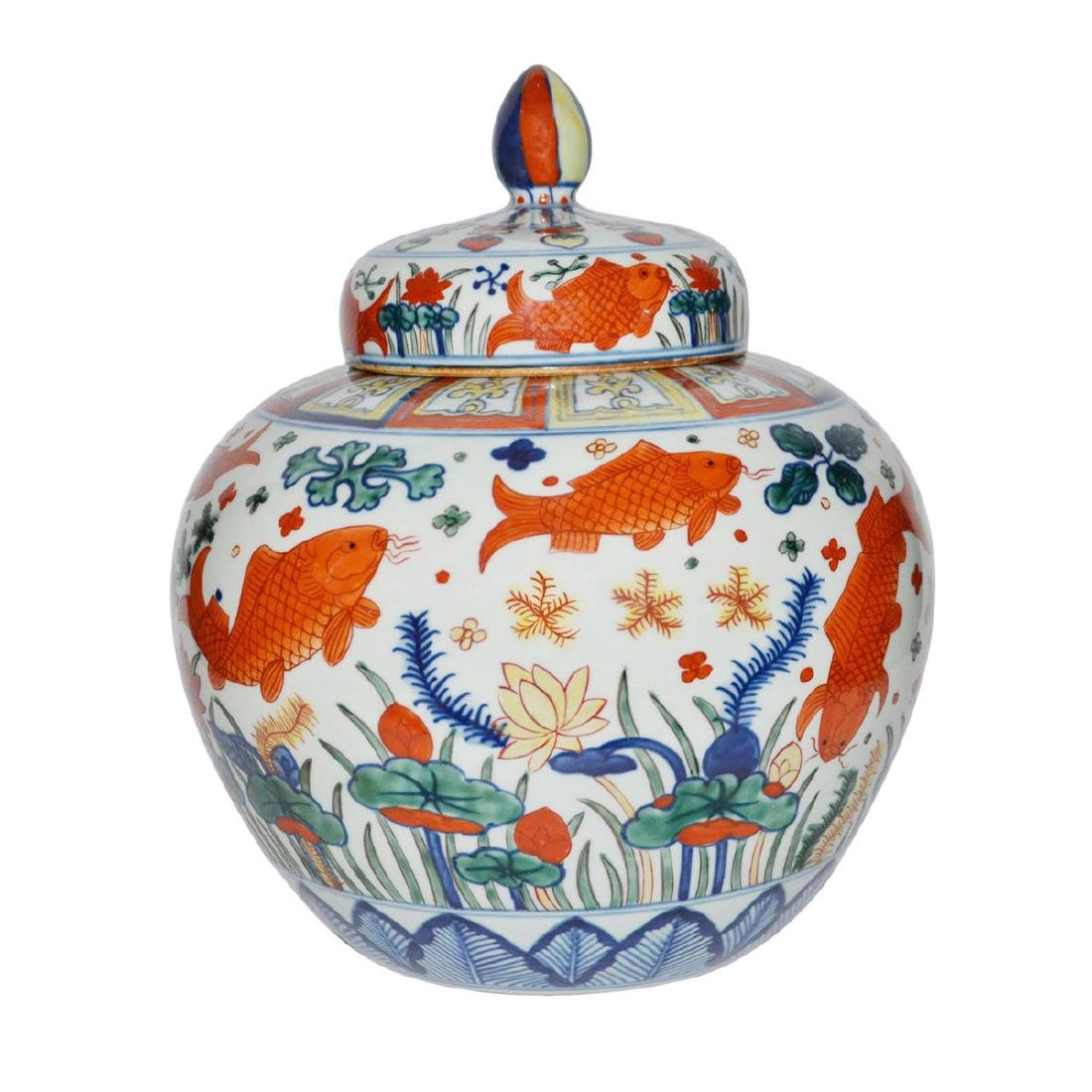 Ming, A Very Rare and Magnificent Wucai Fish Jar with - 3