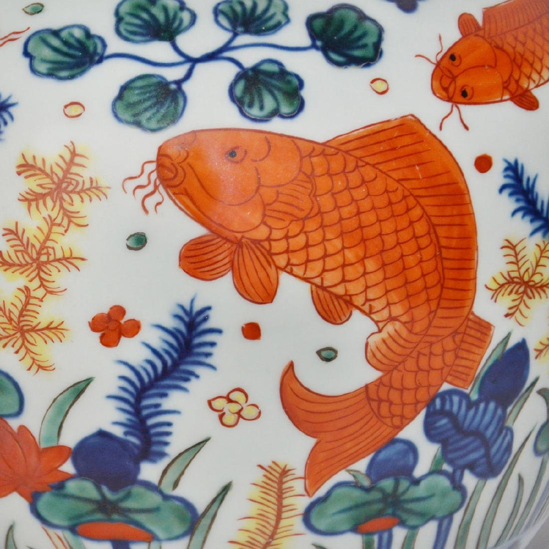 Ming, A Very Rare and Magnificent Wucai Fish Jar with - 8