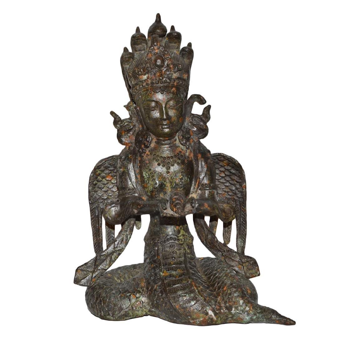 Ming Dynasty, Tibetan Bronze Figure of Suvannamaccha,