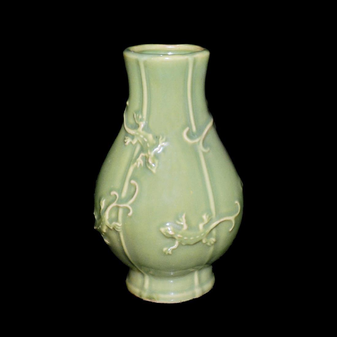Yuan Dynasty, A Longquan Celadon Hexagonal Lizard Vase - 2