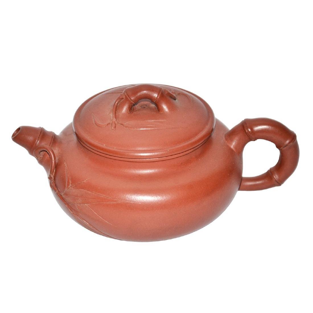 Jiang Rong, Zisha Teapot Carved with Bamboo