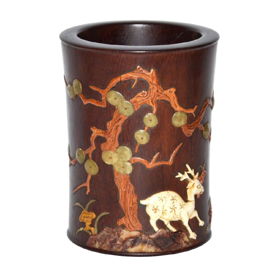 Huanghuali Brush Pot Embellished with Deer and Lingzhi