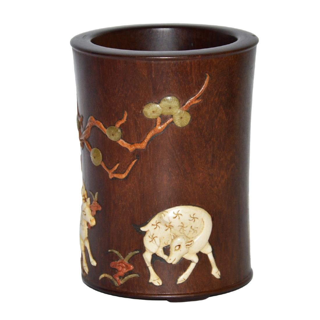 Huanghuali Brush Pot Embellished with Deer and Lingzhi - 2