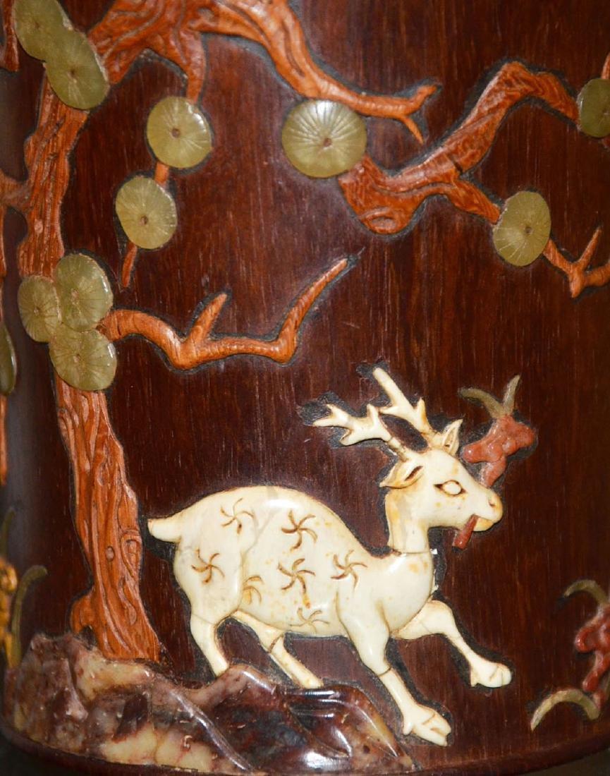 Huanghuali Brush Pot Embellished with Deer and Lingzhi - 6