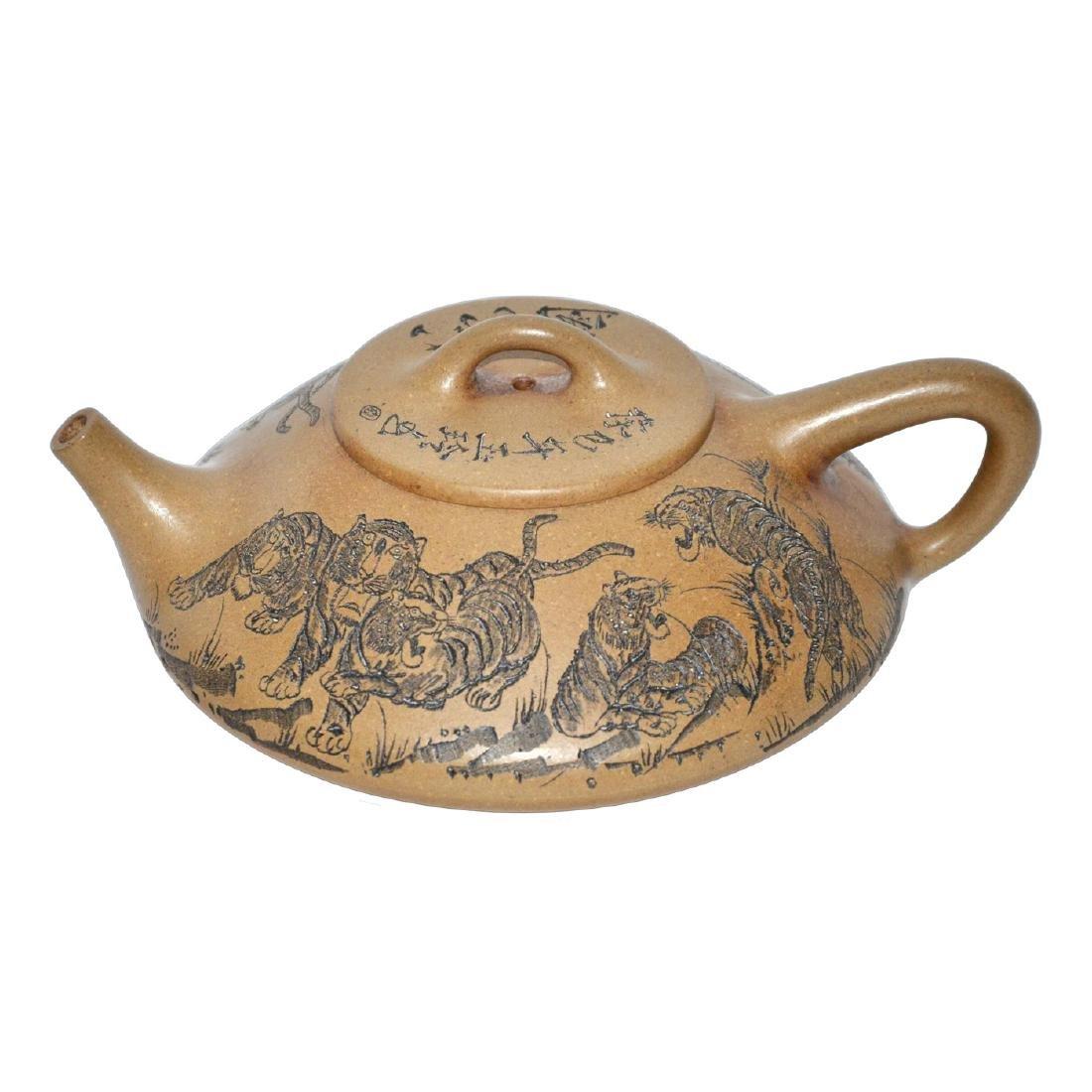 Xu Hantang, Zisha Teapot Incised with Eight Tigers