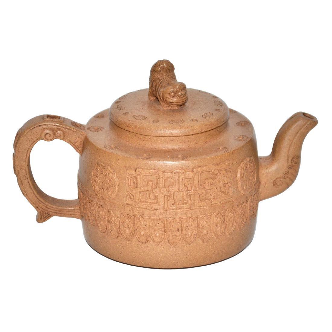 Wang Nanlin, Zisha Teapot with Molded Flowers and a