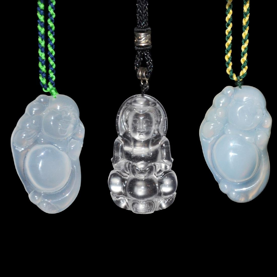 Three Icy Jade Pendants Carved with Guanyin and