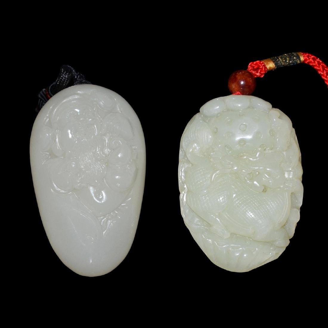 Two Hetian Jade Pebbles: God of Longevity with