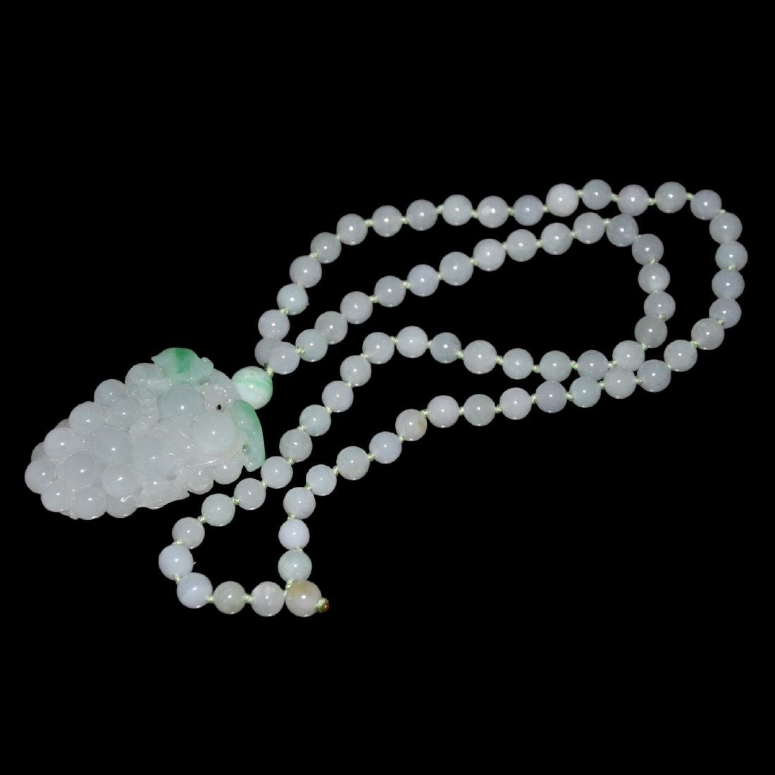 Jadeite Icy Bead Necklace with Carved Grape Bunch