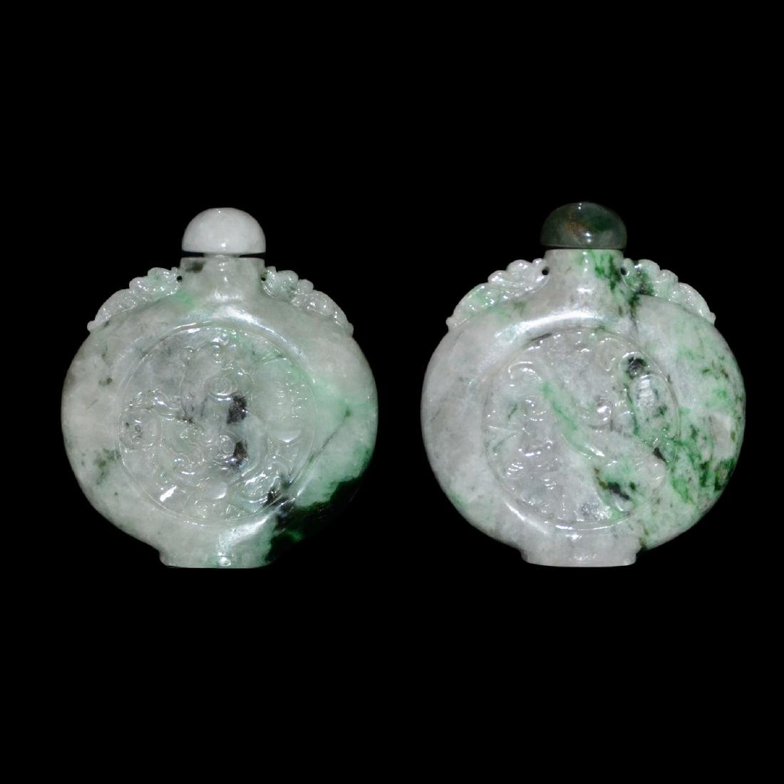 A Pair of Jadeite Dragon-Phoenix Flask Snuff Bottle