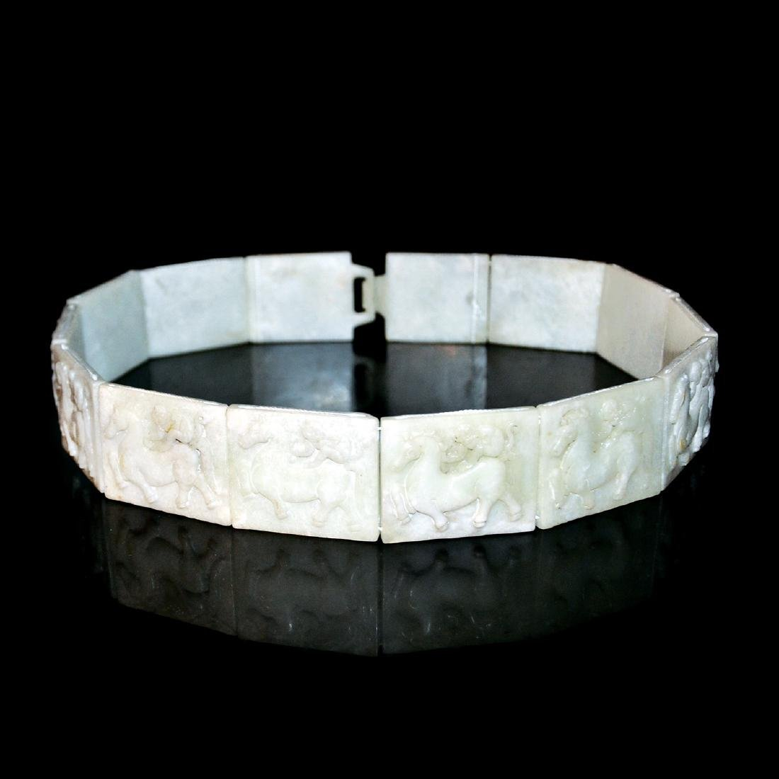 Tang Dynasty, Jade Belt with Cord-Tied Plaques of