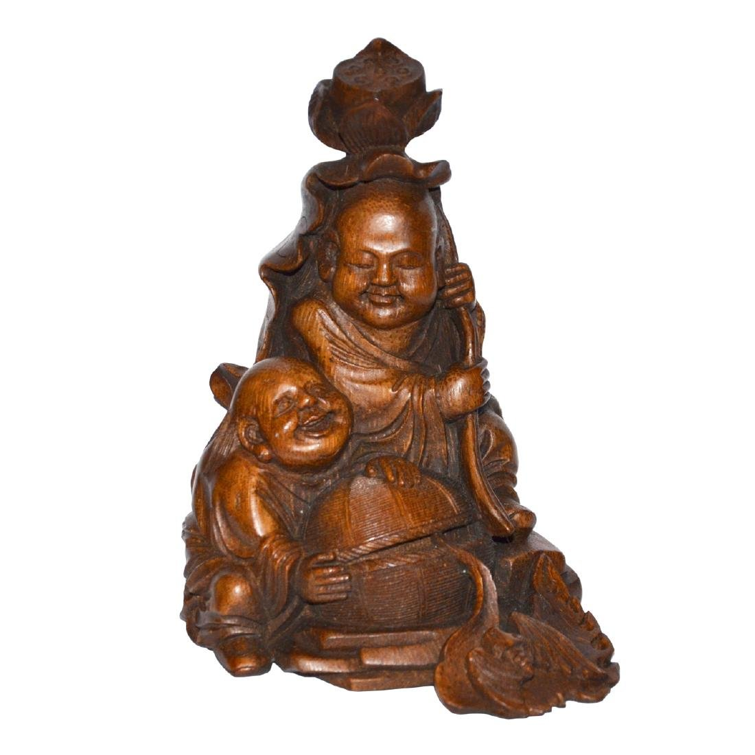 Qing Dynasty, A Well Carved Bamboo Hehe Erxian Group