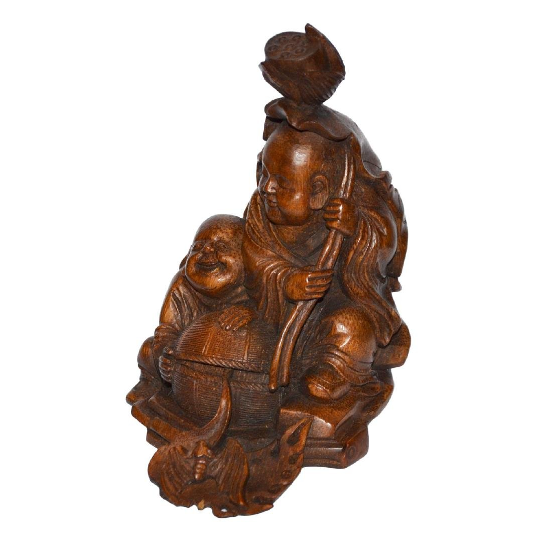 Qing Dynasty, A Well Carved Bamboo Hehe Erxian Group - 2