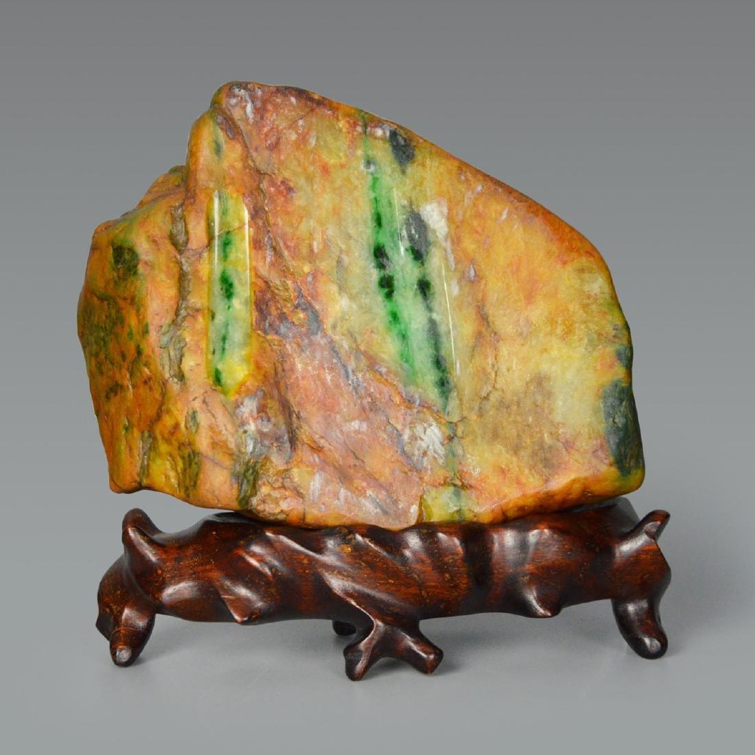 A Fine Scholars' Desk Russet Jadeite Boulder with Stand