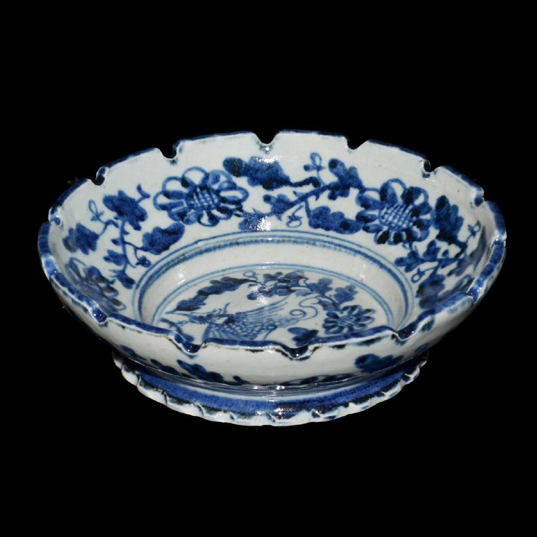 Ming, An Unusual Blue and White Bracket-Lobed Dish